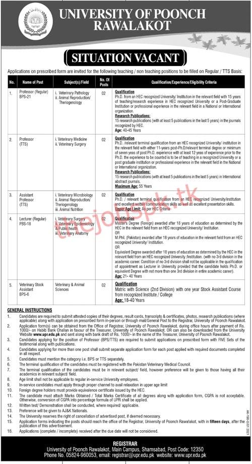 Latest University of Poonch Rawalakot Posts 2021