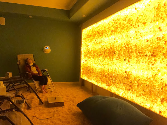 Entirely relaxed and savoring me time while focusing on wellness at North Shore Salt Therapy Center.
