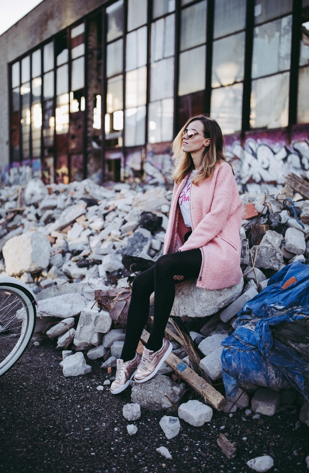 pink coat skirt sneakers fall style