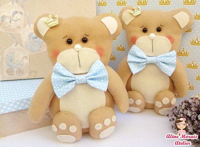 urso ursinho príncipe de feltro com gravata de tecido coroa de príncipe decoração chá de bebê batizado barato promoção preço bom