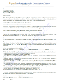 application for transmission of shares/debentures