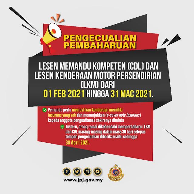 Pengecualian Perbaharui Lesen Memandu Bermula 1 Februari Hingga 31 Mac 2021