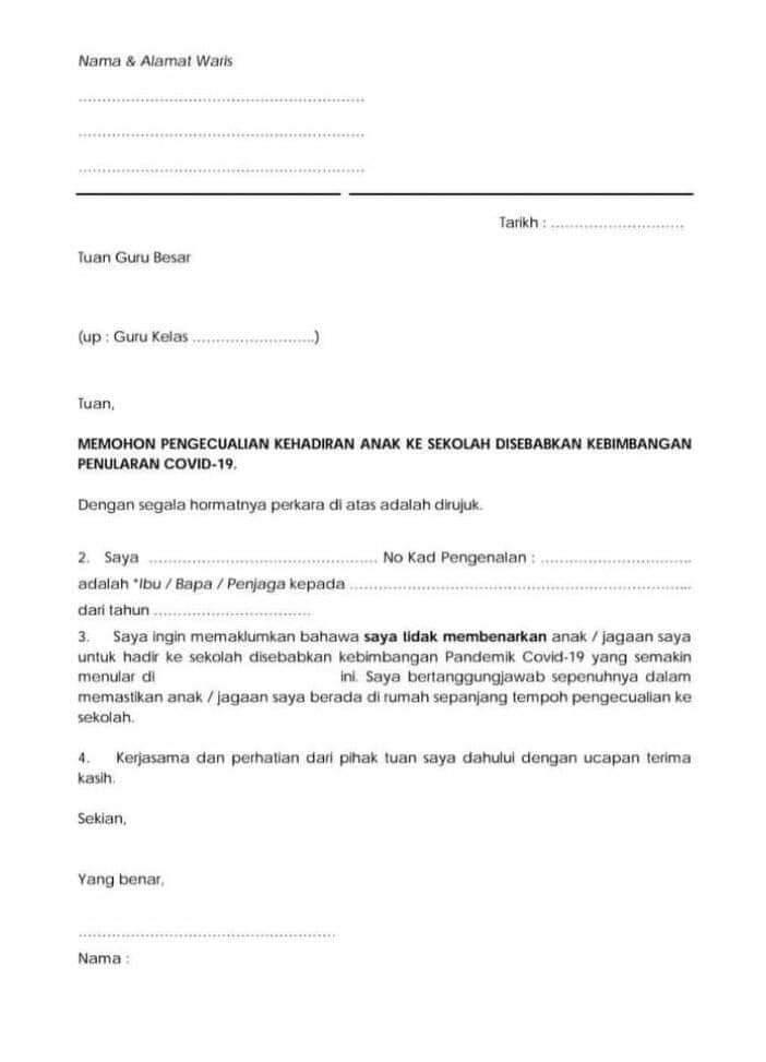 Contoh Surat Pengecualian Hadir Ke Sekolah