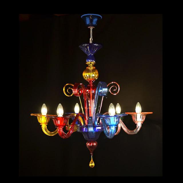Lucicastiglione fabbrica lampadari lampadario moderno colorato in vetro di murano multicolor 6 luci - Lampadari colorati design ...