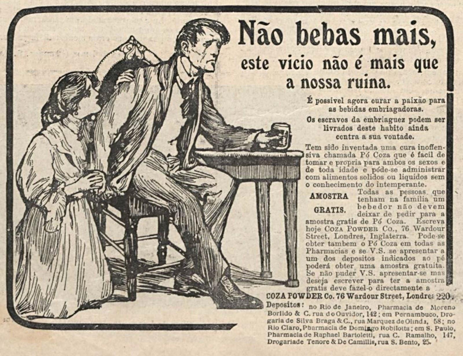 Anúncio veiculado em 1910 com medicamento para combater o alcoolismo