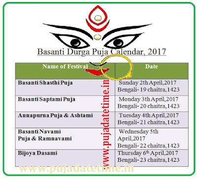 2017 Basanti Durga Puja Calenda