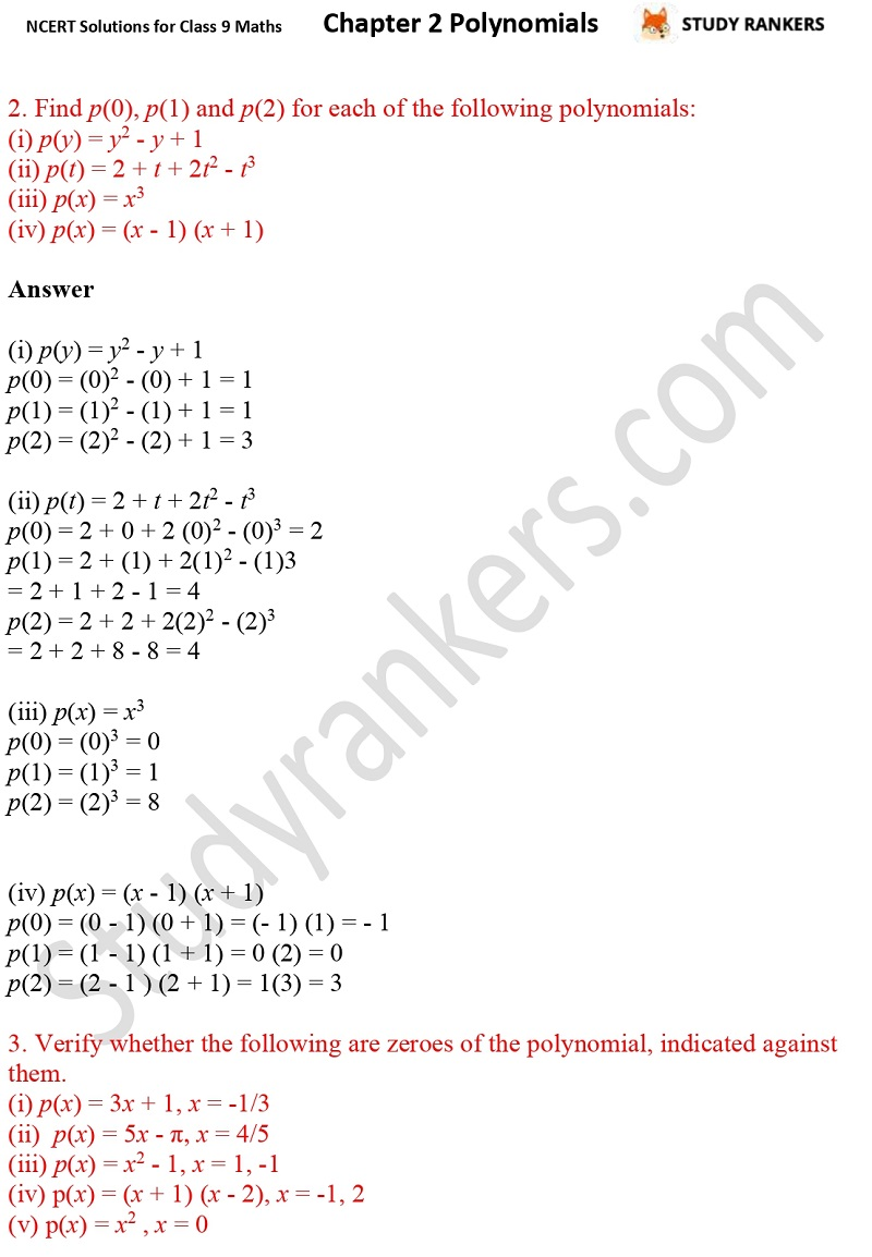 NCERT Solutions for Class 9 Maths Chapter 2 Polynomials Part 4