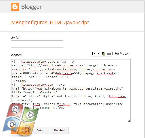 Cara Menambah Widget Visitor/Pengunjung Pada Blogg
