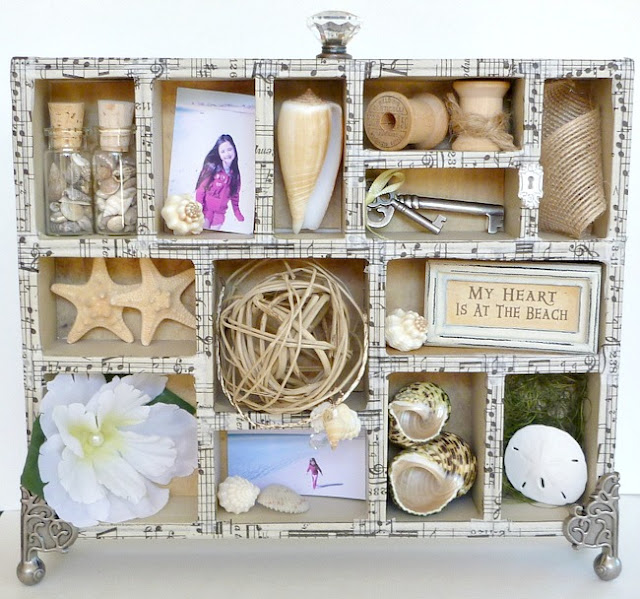 Tim Holtz Configurations Box Filled with Beach Photos, Shells, and Natural Embellishments