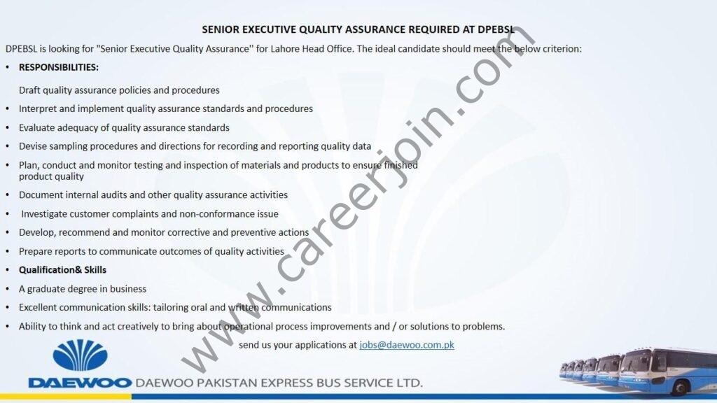 Daewoo Pakistan Express Bus Service Ltd Jobs Senior Executive Quality Assurance