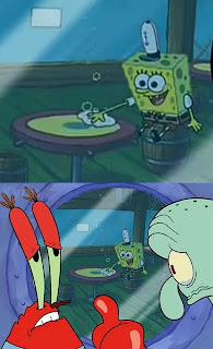 Polosan meme tuan krab 2 - Tuan krab dan squidward bagaimana kita harus memberitahunya. kepada spongebob yang dikira makan kue pie bom