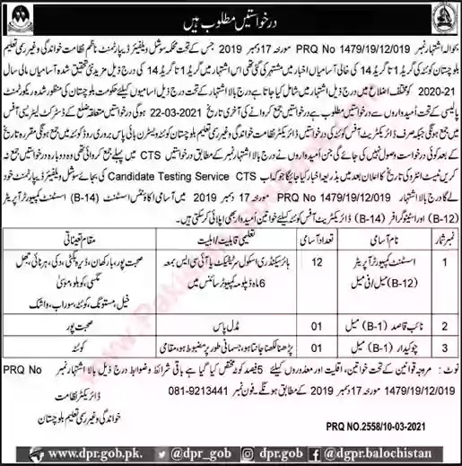 Latest Jobs in Pakistan Literacy and Non Formal Education Department Balochistan Jobs 2021