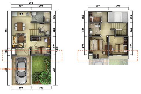 Denah rumah minimalis ukuran 6x11 meter 4 kamar tidur 2 lantai