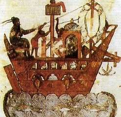 A painting depicting a ninth century Arab ship of the kind that would have invaded Sicily