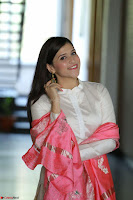 Mannara Chopra in Silky White Salwar Suit with Pink Chunni Latest Exclusive Pics March 2017 ~  055.JPG