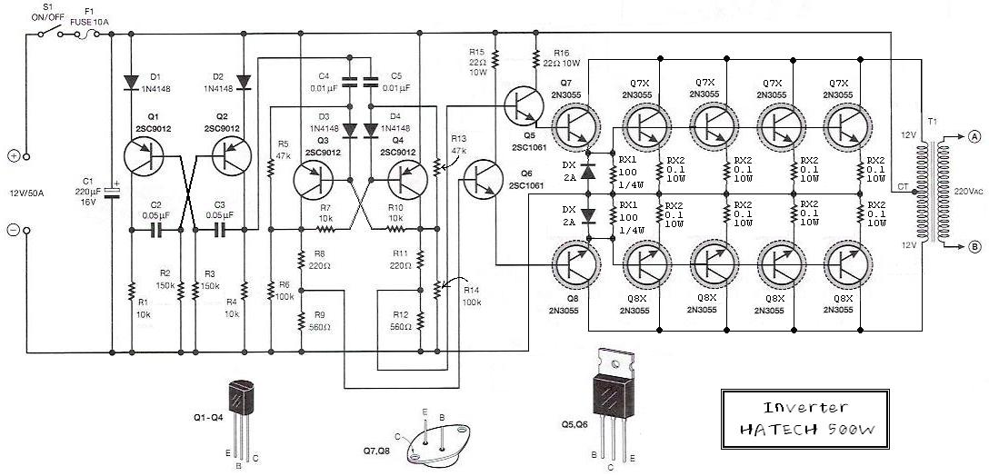 500W 12V to 220V Inverter Circuit Diagram