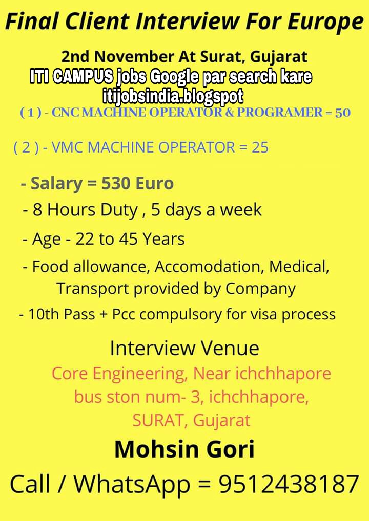 Cnc And Vmc Machine Operator And Programer Jobs For Europe Interview