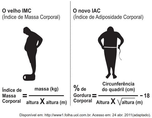 ENEM 2011: O Índice de Massa Corporal (IMC) é largamente utilizado há cerca de 200 anos, mas esse cálculo representa muito mais a corpulência que a adiposidade, uma vez que indivíduos musculosos e obesos podem apresentar o mesmo lMC.