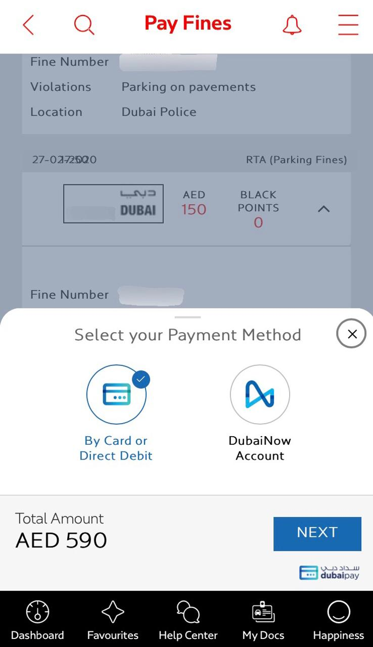 pAY Dubai Fines on Dubai Now account