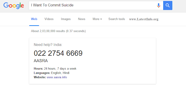 I Want To Commit Suicide Type on Google