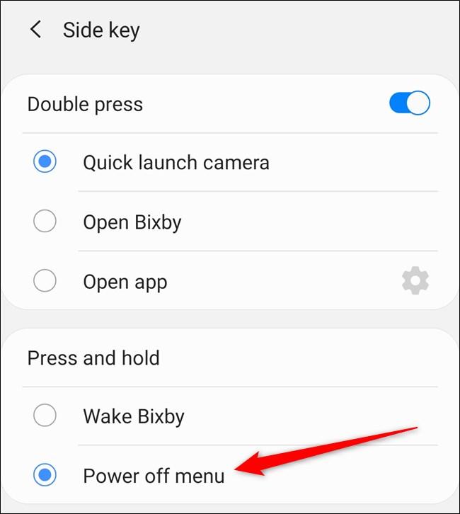 """Samsung Galaxy S20 اضغط على خيار """"Power Off Menu""""."""