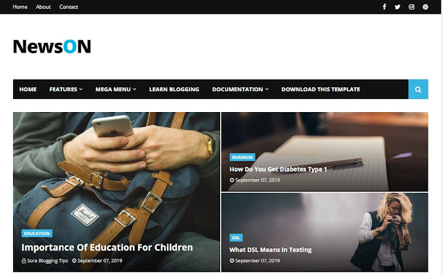 NewsOn Magazine Blogger Template