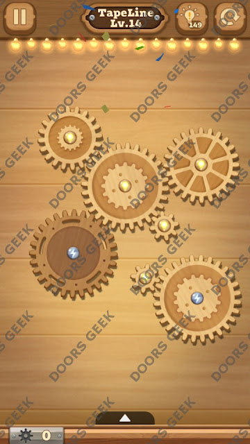 Fix it: Gear Puzzle [TapeLine] Level 14 Solution, Cheats, Walkthrough for Android, iPhone, iPad and iPod