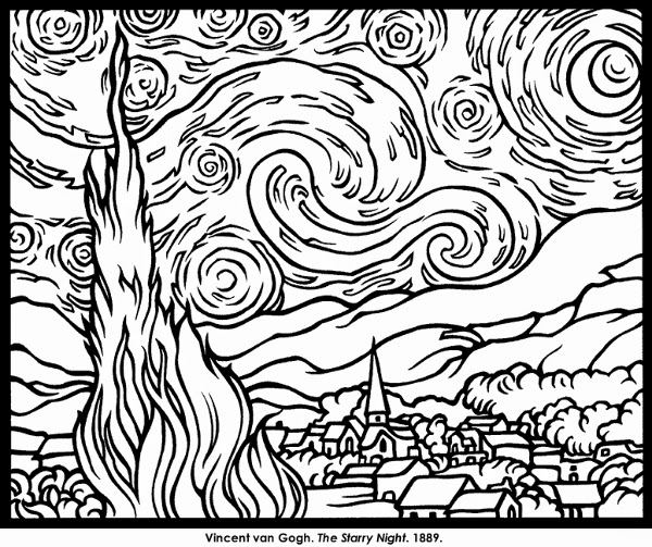 Scribbleprints art with kids coloring pages for Impressionist coloring pages