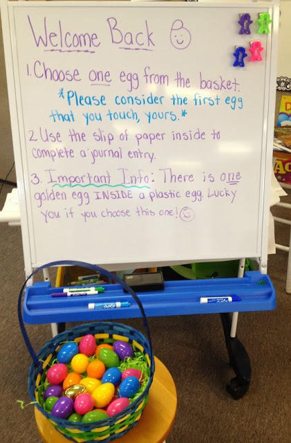 Using plastic eggs as writing prompts.