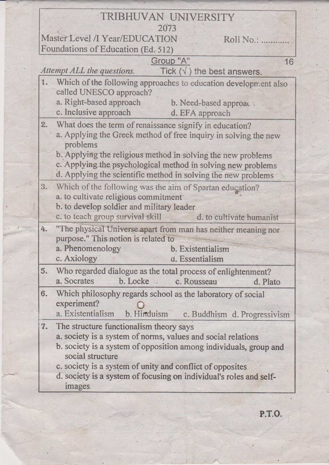 Question Paper of Foundation (Ed. 512) Tribhuvan