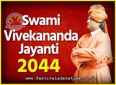 2044 Swami Vivekananda Jayanti Date & Time, 2044 National Youth Day Calendar