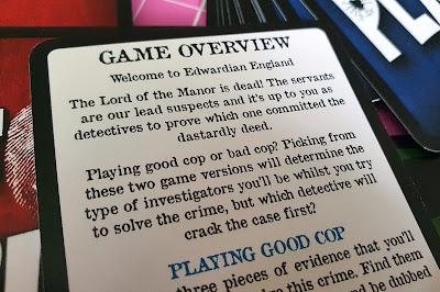 playing card with background story text