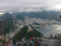 Sugarloaf Mtn, midlevel station (ctr) & Flamengo in background, from upper station (Rio de Janeiro)