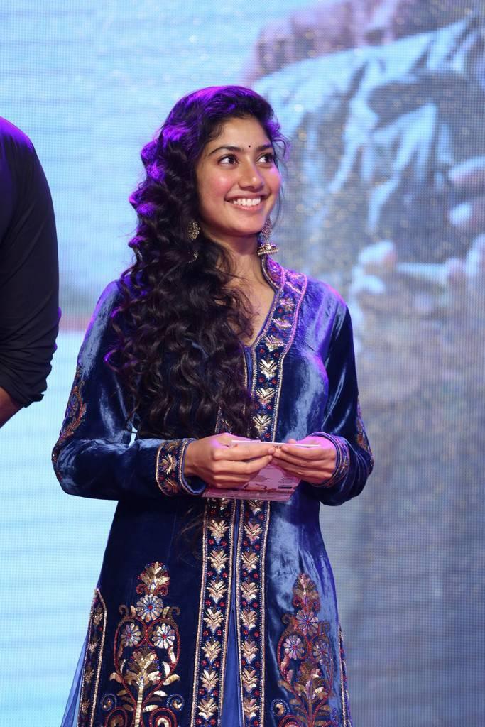 Sai Pallavi Stills At Telugu Movie Audio Launch Hyderabad In Blue Dress