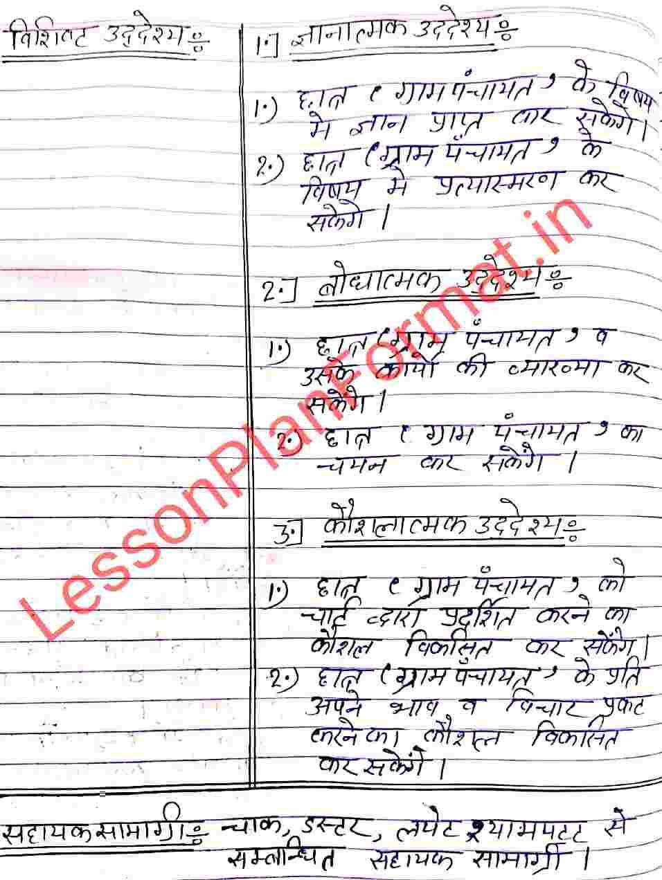 Nagrik Shastr Lesson Plan on Gram Panchayat