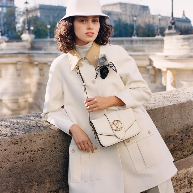 Caroline Reuter fronts Louis Vuitton LV Pont 9 handbag campaign.