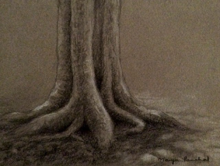 Charcoal and white pastel sketching of tree trunk on Canson paper, By Manju Panchal