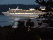 Cruise Ship view from Cottages
