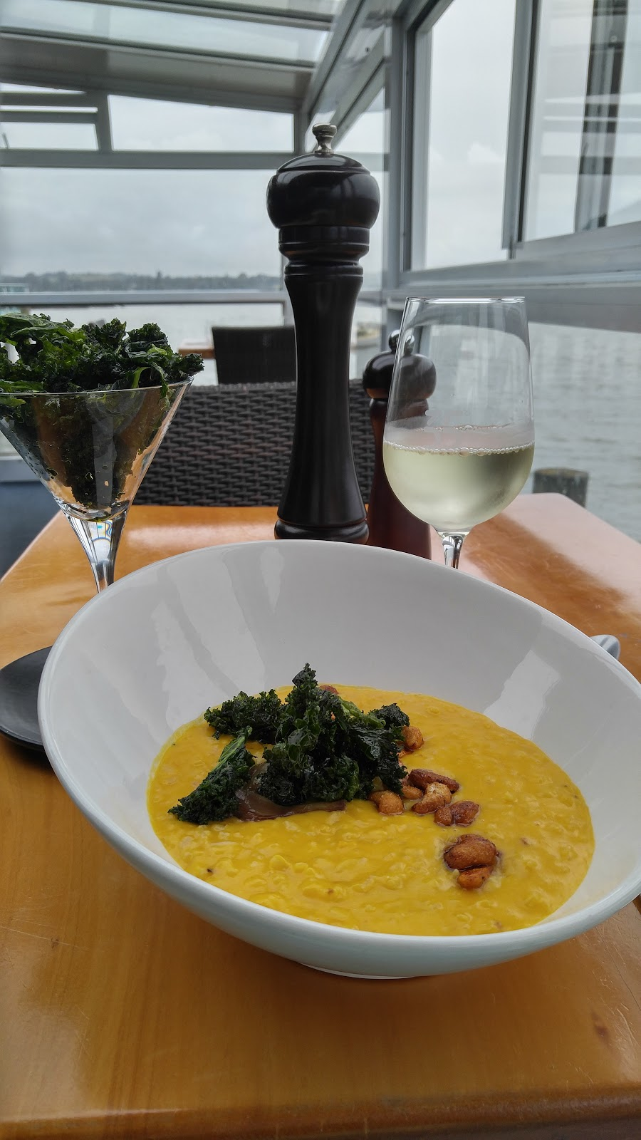 Pumpkin Risotto with Cashews and Fried Kale