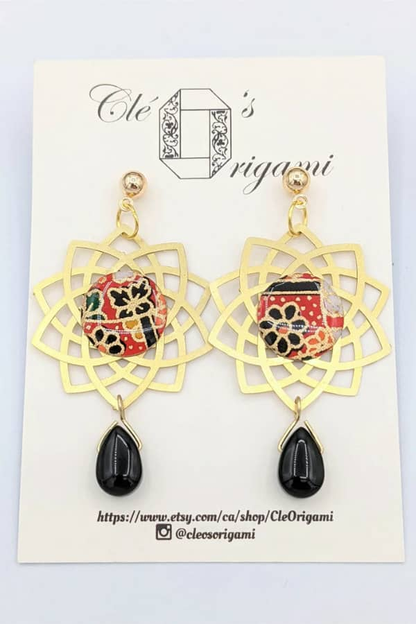 patterned origami paper and brass mandala earrings with dangle beads