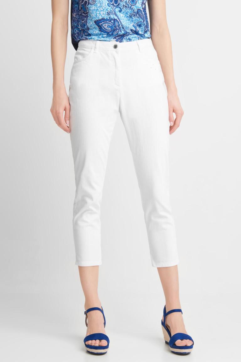 białe zwężane spodnie 3/4 quiosque