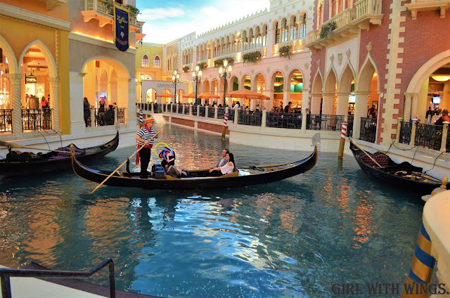 Gondola rides at the Venetian themed resort