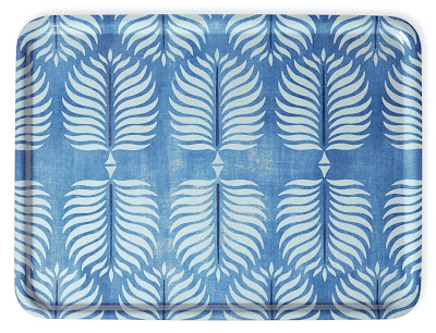 blue tray with a leaf pattern in another shade of blue