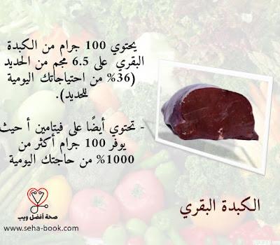 محتوى الكبدة البقري من الحديد