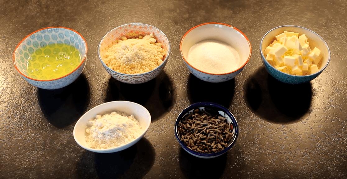 hazelnut butter, sugar, almond powder, egg whites, chocolate vermicelli
