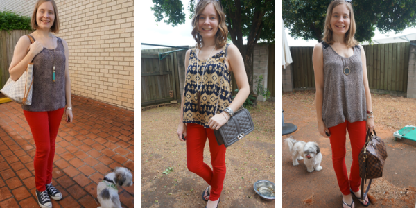 3 outfit ideas with red skinny jeans and printed tanks | away from blue
