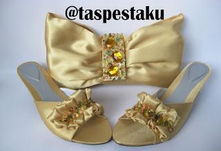 Handmade tas pesta dan slop pesta gold cantik