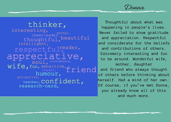 4 sentence eulogy Donna from Retirement Reflections