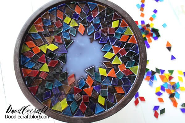 Then fill in the top of the cake stand with glass mosaic pieces.