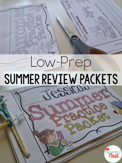 Summer Practice Packets for kindergarten, first grade, second grade, and third grade students. Send home to prevent the summer slide. Low-prep summer review. It's as easy as PRINT- CUT- STAPLE!